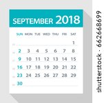 september 2018 calendar leaf  ... | Shutterstock .eps vector #662668699