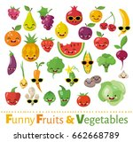 big vector set of funny food... | Shutterstock .eps vector #662668789