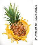 pineapple juice. fresh fruit ... | Shutterstock .eps vector #662680021