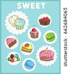 icons on the theme of sweets.... | Shutterstock .eps vector #662684065