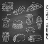 vector set of fast food hand... | Shutterstock .eps vector #662684149