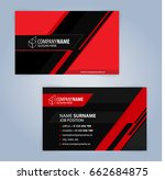 business card template. red and ... | Shutterstock .eps vector #662684875
