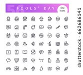 set of april fools day line... | Shutterstock .eps vector #662686141