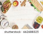 sandwich  apple  grape  carrot  ... | Shutterstock . vector #662688325