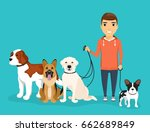a young guy was walking his... | Shutterstock .eps vector #662689849