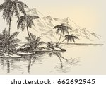 Beach Drawing  Palm Trees And...