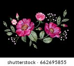 vector embroidery with flowers | Shutterstock .eps vector #662695855