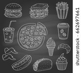 vector set of fast food hand... | Shutterstock .eps vector #662697661