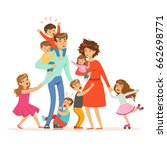 large family with many children.... | Shutterstock .eps vector #662698771