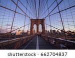 brooklyn bridge at sunset in... | Shutterstock . vector #662704837
