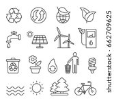 eco related icons  thin... | Shutterstock .eps vector #662709625
