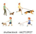 Stock vector young guy and kids walking with dogs vector set 662713927