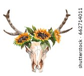 watercolor isolated bull's head ... | Shutterstock . vector #662714011