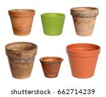 old plant pots on a white...   Shutterstock . vector #662714239