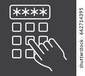 hand finger entering pin code... | Shutterstock .eps vector #662714395