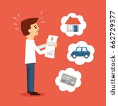 man worried about paying bills | Shutterstock .eps vector #662729377