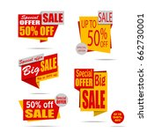 set of sale banners. red and... | Shutterstock .eps vector #662730001