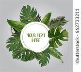 vector exotic leaves frame | Shutterstock .eps vector #662733211