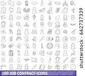 100 job contract icons set in... | Shutterstock . vector #662737339
