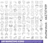 100 marketing icons set in... | Shutterstock . vector #662737459