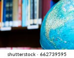 globe ball in library with... | Shutterstock . vector #662739595
