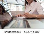 asian businesswoman analyze... | Shutterstock . vector #662745109