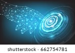 vector hand and circle tech on... | Shutterstock .eps vector #662754781