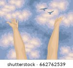 human arms open upwards  view... | Shutterstock .eps vector #662762539