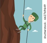 young climber in protective... | Shutterstock .eps vector #662769649