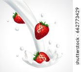 strawberries and falling into... | Shutterstock .eps vector #662773429