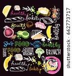 hand drawn doodle food... | Shutterstock .eps vector #662773717