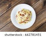 pasta carbonara. spaghetti with ... | Shutterstock . vector #662781451