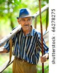 old man carrying a ladder and a ...   Shutterstock . vector #66278275
