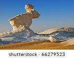 The limestone formation the Rabbit in the White desert, Sahara, Egypt - stock photo