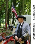 Small photo of COPENHAGEN, DENMARK - JUNE, 17, 2017:American Civil War: reenactment during a historical festival.Confederate cavalry and Union Army.