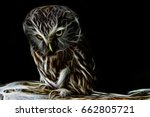 Abstract fractal background. Owl heterochromy, screeched, night person, owl accomplice witch and sorcerer, fantasy witchcraft, evil eyes, ferocious predator, night terror. Concept of Incubus, avatar