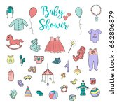 baby shower and childhood hand... | Shutterstock .eps vector #662806879