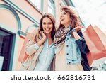 group of happy friends shopping ... | Shutterstock . vector #662816731