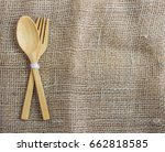 closeup wooden of spoon and... | Shutterstock . vector #662818585