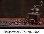 coffee beans and grinder on...   Shutterstock . vector #662820565