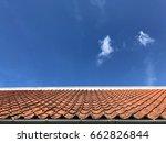 orange roof tiles with blue sky ... | Shutterstock . vector #662826844