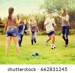 group of carefree teenagers... | Shutterstock . vector #662831245