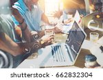 closeup view of young coworkers ... | Shutterstock . vector #662832304