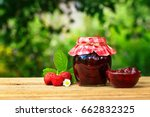 strawberry jam in jar and bowl  ... | Shutterstock . vector #662832325