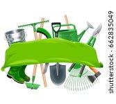 vector green banner with garden ...   Shutterstock .eps vector #662835049
