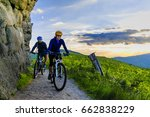 mountain biking women and man... | Shutterstock . vector #662838229