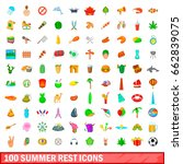 100 summer rest icons set in... | Shutterstock . vector #662839075