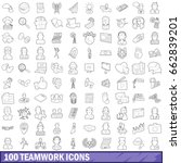 100 teamwork icons set in... | Shutterstock . vector #662839201