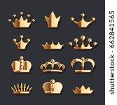 golden crown set. vector gold... | Shutterstock .eps vector #662841565