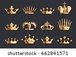golden crown set. vector gold... | Shutterstock .eps vector #662841571